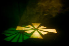 Green and yelow beam on the floor Royalty Free Stock Photography