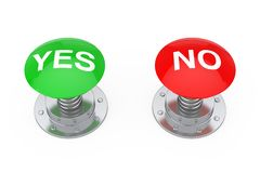 Green Yes and Red No Buttons Knobs. 3d Rendering Stock Image
