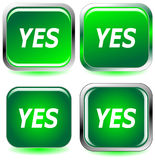 Green YES web icons Royalty Free Stock Images