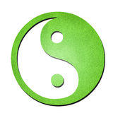Green ying yang symbol paper art on white Royalty Free Stock Images