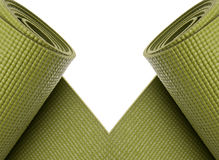 Green Yoga Exercise Mats Border Stock Photo