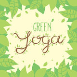 Green yoga nature lettering on leaves background. Stock Photo