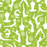 Green yoga poses seamless pattern background Royalty Free Stock Photos