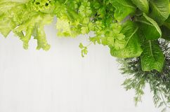 Free Green Young Salad Leaves As Frame On White Wood Board, Top View. Royalty Free Stock Images - 107787379