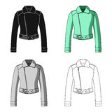 Green youth short leather jackets for confident women. Women clothing single icon in cartoon style vector symbol stock. Web illustration royalty free illustration