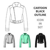 Green youth short leather jackets for confident women.Women clothing single icon in cartoon style vector symbol stock Stock Images