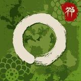 Green zen circle illustration traditional enso Royalty Free Stock Photos