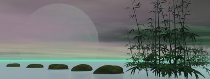 Green zen - 3D render Royalty Free Stock Image