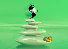 Green zen, earth and butterfly Royalty Free Stock Image