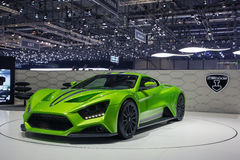 Green ZENVO ST1 car on Geneva motor show Royalty Free Stock Images