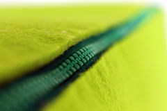 Green zipper. Macro of a green zipper Stock Images