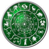 Green zodiac disc. A view of a green zodiac disk with white symbols and designs Stock Image