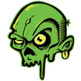 Green zombie. Cartoon illustration of a zombie head vector illustration
