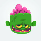 Green zombie with pink brains outside of the head. Halloween character. Vector cartoon  illustration. Royalty Free Stock Photography
