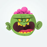 Green zombie with pink brains outside of the head. Halloween character. Vector flat illustration. Royalty Free Stock Photo