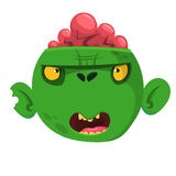 Green zombie with pink brains outside of the head. Halloween character. Vector illustration. Stock Photography