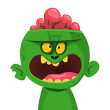 Green zombie with pink brains outside of the head. Halloween character. Vector illustration. Royalty Free Stock Photos