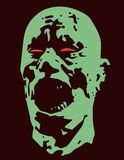 Green zombie screams head. Vector illustration. Scary character face. The horror genre Royalty Free Stock Image