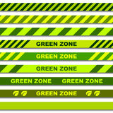 Green zone seamless caution tapes Royalty Free Stock Images