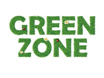 Green zone text with grass Royalty Free Stock Photos