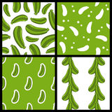 Green Zucchini Seamless Patterns Set Royalty Free Stock Image