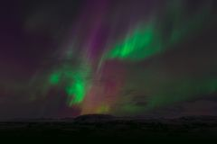 Greena Nd Purple Lights in the Sky Royalty Free Stock Photography