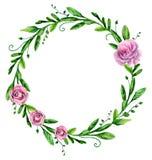 Greenary Kranz des Aquarells mit Blumen Blumengesteck Stockfotos