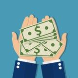 greenbacks hand money payday success Στοκ Φωτογραφία