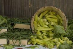 Greenbeans e pimentas Imagens de Stock Royalty Free