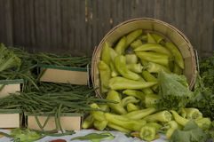 Greenbeans and peppers Royalty Free Stock Images