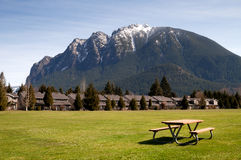 Greenbelt Picnic Table Subdivision Homes Mount Si North Bend Royalty Free Stock Photo