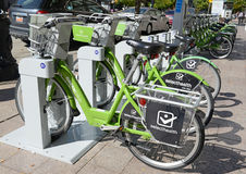 GREENbike is a bicycle share program which gives people a sustainable and environmentally friendly transportation option. SALT LAKE CITY – SEPTEMBER 25, 2015 Stock Photos