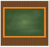 Greenboard στο καφετί ξύλινο υπόβαθρο επίσης corel σύρετε το διάνυσμα απεικόνισης Στοκ Φωτογραφίες