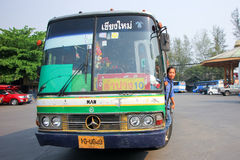Greenbus company bus route Lampang and Chiangmai. Royalty Free Stock Photo