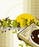 Greendance. Dancing party people silhouette illustration,turntable Stock Image