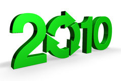 A Greener 2010. Royalty Free Stock Image of a 3D render of the word 2010 in green against white background to provide copy space. One of the zeros is done in the royalty free illustration