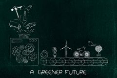 Machine with funnel processing polluting elements into green eco. A greener future conceptual illustration: machine with funnel processing polluting elements Stock Photography