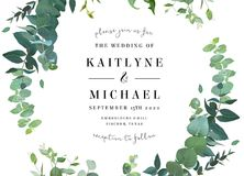 Greenery botanical wedding invitation. vector illustration