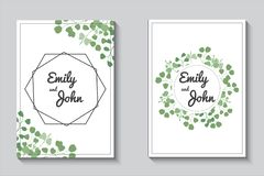 Greenery cards, eucalypthus wedding invitation set stock illustration