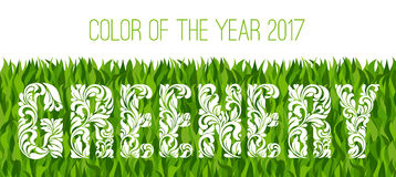 Greenery - Color of the year 2017. Decorative Font with swirls and floral elements. Background made of grass Royalty Free Stock Photography