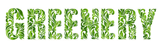 Greenery - Color of the year 2017. Decorative Font with swirls and floral elements. Greenery - Color of the year 2017. Decorative Font with swirls and floral Royalty Free Stock Image