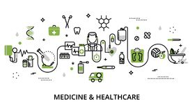 Greenery concept of medicine and healthcare stock illustration