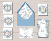 Greenery and floral wedding patterns gray and blue Stock Photo