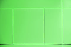 Greenery. Green background crossed by lines forming squares and rectangles in an abstract architectural wall. Stock Image