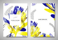 Free Greenery Greeting/invitation Card Template Design, Blue And Yellow Protea Flowers With Hand Drawn Doodle Graphics On White Royalty Free Stock Photos - 168492468