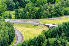 Greenery and Highway Interchange Stock Image