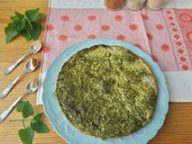 Greenery omelette with nettles and spices Stock Image