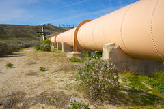 Greenery Beside Pipeline. Bushes, trees, and grass grow beside a pipeline in the desert of California Stock Photos