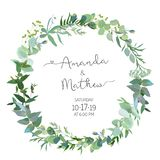 Greenery selection vector design round invitation frame. Rustic wedding greenery. Mint, blue, green tones. Watercolor save the date card. Summer rustic style stock illustration
