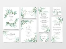 Greenery wedding invitation card template suite. Elegant watercolor floral background bundle, Invite, Save the Date, Thank You,